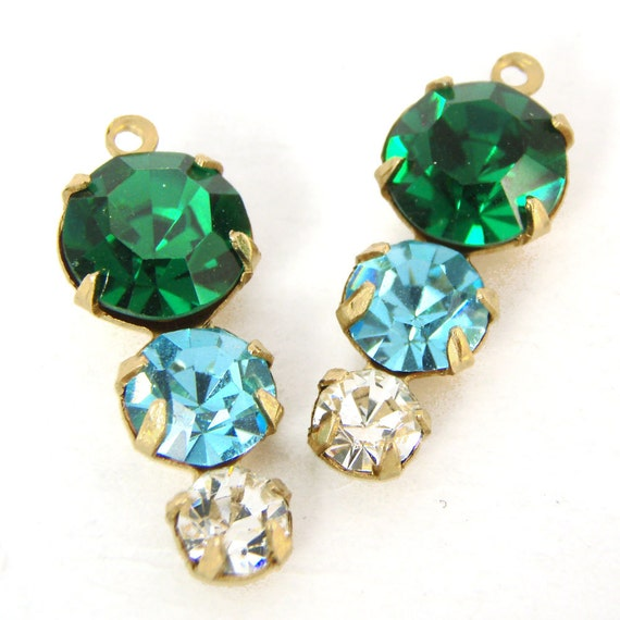 emerald green, aqua blue, and crystal rhinestone triple jewels in golden raw brass settings