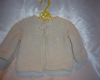 Sweet Superwash Merino Hand Knit Newborn to 4 Month Baby Sweater in White