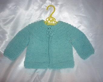 Sweet Superwash Merino Hand Knit Newborn to 4 Month Baby Sweater in Light Blue Heather