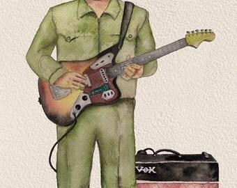 """Dear Leader Rocking Out, 8.5"""" X 11"""" print by Caryn Cast"""