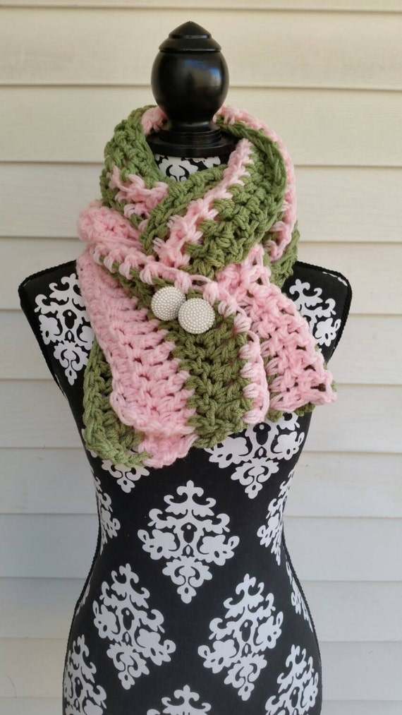 alpha kappa alpha pink and green buttoned scarf chunky