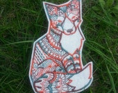 Tribal fox iron on patch applique - sew on patch - embroidery - felt fox - felt animal - fox patch - embroidery thread - patches for jeans