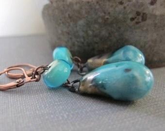 Porcelain Earrings, Copper Earrings, Aqua Teal, Bronze Teal Earrings, Ceramic Earrings, Teal Glass, Copper Jewelry