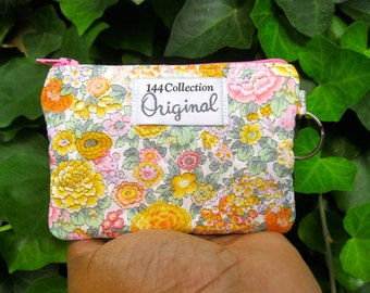 Elysian Yellow Quilted Wallet, Keychain Wallet, Keyring Wallet, Flower Coin Bag, Small Wallet, Flower Wallet, Liberty of London Fabric