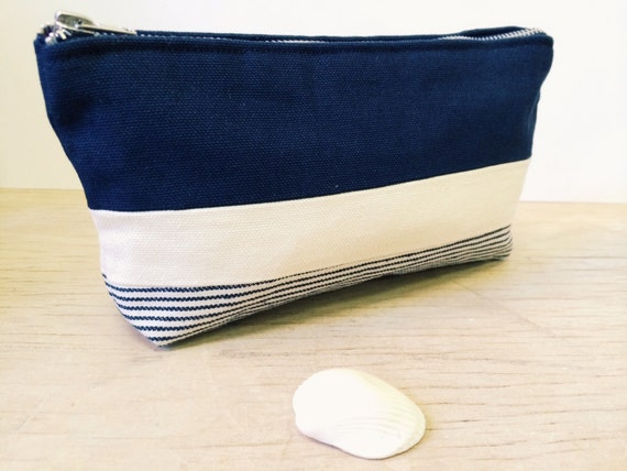 Canvas Bag, Makeup Bag, Toiletry Bag, Striped Blue Canvas Bag, Cosmetic Bag, Canvas Pouch, Zippered Pouch