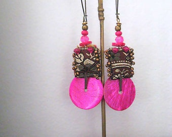 Hot Pink Earrings, Shell, Irridescent, Sparkle,  Beaded, Medium Earrings, Dangle, Hippie Boho Earrings