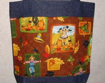 New Medium Handmade Autumn Fall Scarecrow Squares Harvest Denim Tote Bag