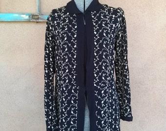 Vintage 1940s Blouse 40s Black Crepe Tunic Mini Medium US8 2014535