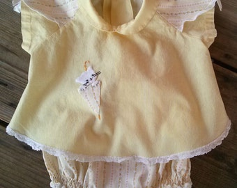 Vintage 1950s Baby Girls Dress Set Yellow Kitty 4 to 6 Months 2 Pc 2015142