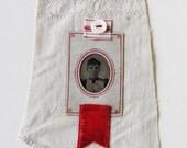 Textile art, small art quilt, tintype photo, portrait, woman, embroidered linen, antique linen