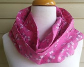 pink floral infinity snap  cotton scarf cowl
