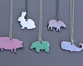 Enameled Animal Necklace- pig, rabbit, hippo, rhino, or whale
