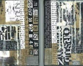 Two small art abstract and grafitti two collage paintings by Glenda Bailey