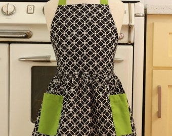 Vintage Inspired Black and White Deco Tiles with LIME Full Apron for Little Girls
