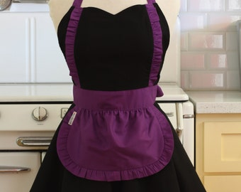 Apron French Maid Solid Black with Purple Double Circle Skirt Retro Full Apron