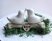 Clay Bird Cake Topper - Rustic wedding cake topper - Woodland Cake Topper - Clay birds - Love birds cake topper