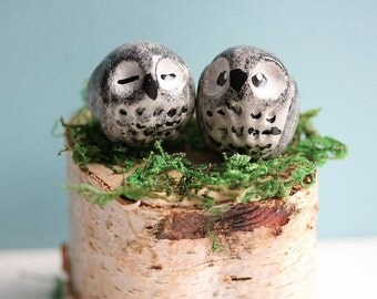 Miniature Clay Owls - Owls Cake topper - Hand sculpted Clay Owls - Miniature Animal totem - Black Grey Owls - Lucky Pals - Love Owls