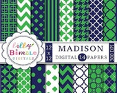 40% off Navy Blue and green digital papers preppy scrapbook papers MADISON Instant Download commercial use