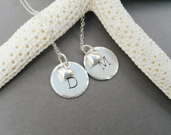 Simple Initial Heart Necklace, sterling silver necklace, heart necklace, personalized necklace