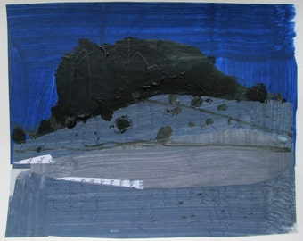 January Night, Lost Dog Hill, Original Landscape Collage Painting on Paper, Stooshinoff