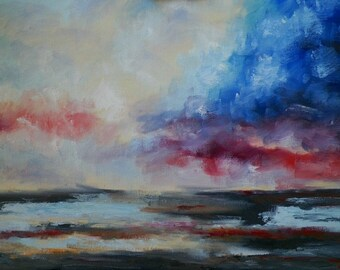 Lanscape Sky Original Oil Painting Abstract Art by Arist Debra Alouise