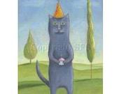 Whimsical Art, Gray Cat Print, Cat Illustration, Children's Wall Art, Birthday Print, Kitty and Cupcake, Nursery Decor, Happy Art, Cute Cat