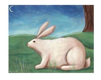Rabbit Print, Whimsical Folk Art, Rabbit Art, Kids Wall Decor, Art for Children, Bunny Picture, Peaceful Decor, Cute Rabbit, Nursery Art