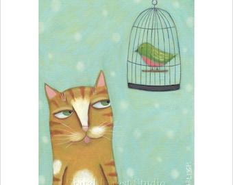 Orange Cat Print, Whimsical Cat Art, Orange Tabby, Cat and Bird Print, Cat Illustration,  Cute Picture, Children's Wall Art, Kids Decor,