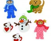Fun in the snow  plastic buttons