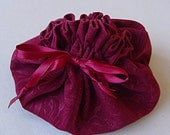 Jewelry Bag Pouch for Travel or Storage Burgundy Drawstring Damask pattern