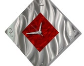 ON SALE! Red & Silver Modern Metal Wall Clock - Contemporary Functional Art - Home Decor - Wall Accent - Fresh Start by Jon Allen