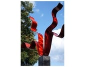 Bright Abstract Metal Indoor-Outdoor Sculpture- Contemporary Handmade Garden Decor -Wavy, Abstract Yard Art - Red Reaching Out by Jon Allen