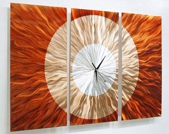 Bright Orange & Silver Abstract Metal Wall Clock - Modern Functional Art - Contemporary Timepiece - Afterglow by Jon Allen