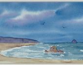 Oregon Coast original watercolor seascape beach cliffs