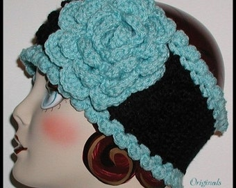 Extra Wide Black Ear Warmer Aqua Iced Blue Winter Ski Head Band Headband Womens