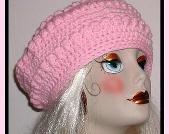 Pastel Pink Beret Hat Popcorn Ladies Large Women