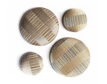Fabric Button Magnets Satin Stripes tan blue shabby decor set of 4 fridge magnet office magnet
