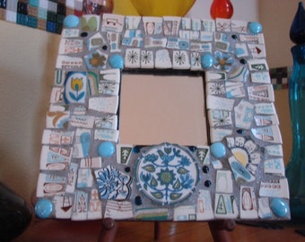 Mirror Wall Hanging Plaque Home Decor Mixed Media Mosaic Art Tile Stained Retro Blue Birds Shards Tesserae