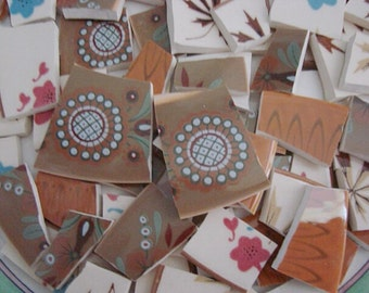 Mosaic Tiles Larkspur Vintage Retro Colorful Brown Atomic Broken Plate Tesserae Art Supply