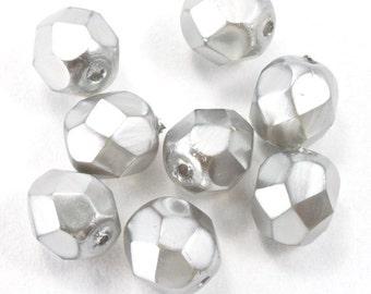 6mm Pearl Light Grey Fire Polished Bead (25 Pcs)  #GBD132