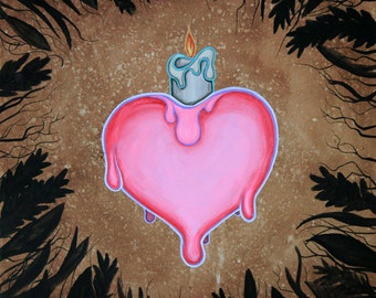Nostalgia 8x10 Art Print -  heart with melting candle - Art by Marcia Furman