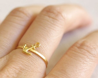 gold anchor ring . silver anchor ring . anchor stacking ring . simple anchor ring . nautical jewelry . tiny anchor ring // 4AHOY