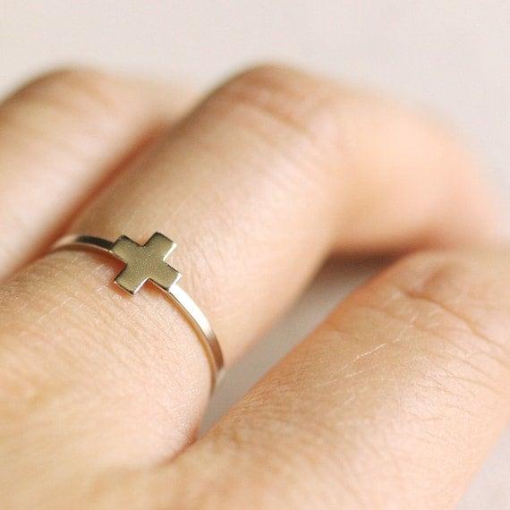 greek cross ring . modern cross ring . silver cross ring . tiny cross ring . gold cross ring . simple cross ring . plus sign ring // GRCR