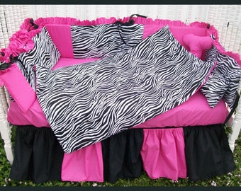 New 7 piece zebra baby crib bedding set w/ hot pink and black fabric