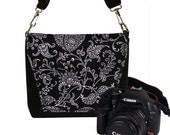 CLEARANCE Small Digital Slr Camera Bag Paisley Dslr Camera Bag Purse Womens Mini Camera Bag Case Funky black white RTS