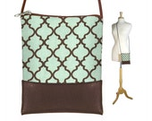CLEARANCE Small Cross Body Bag, Small Shoulder Purse with Moroccan Design, Mini Crossbody Bag fits iPhone 6 Plus, green blue brown RTS
