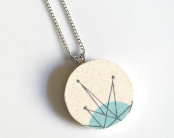 Large Simple Circle Broken China Jewelry  -  Atomic Starburt
