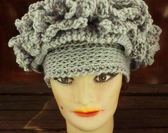 Gray Crochet Hat Womens Hat, Womens Crochet Hat, Steampunk Hat, African Hat, Gray Hat, LINDA Cloche Hat, Formal Hat, Womens Accessories
