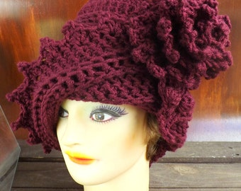Aubergine Crochet Hat Womens Hat, Womens Crochet Hat, Cloche Hat with Flower, Crochet Flower, Aubergine Hat, LAUREN Cloche Hat, Formal Hat