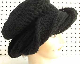 Crochet Hat Womens Hat, Womens Crochet Hat, Crochet Turban Hat, Crochet Beanie Hat, Black Hat, Samantha Womens Turban Hat, Crochet Hat